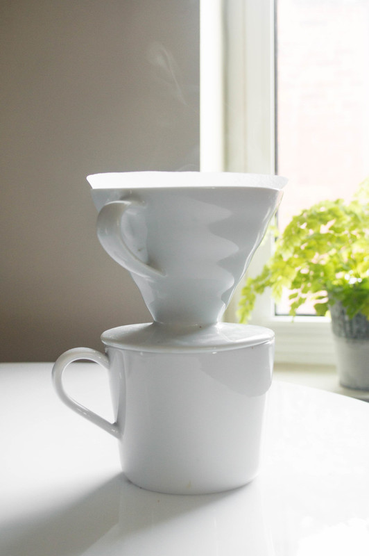 Hario V60 with filter brewing single cup of coffef
