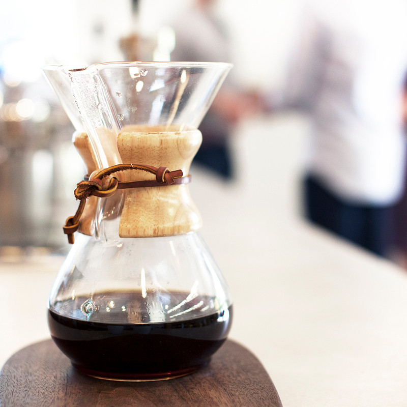 Chemex brewing coffee