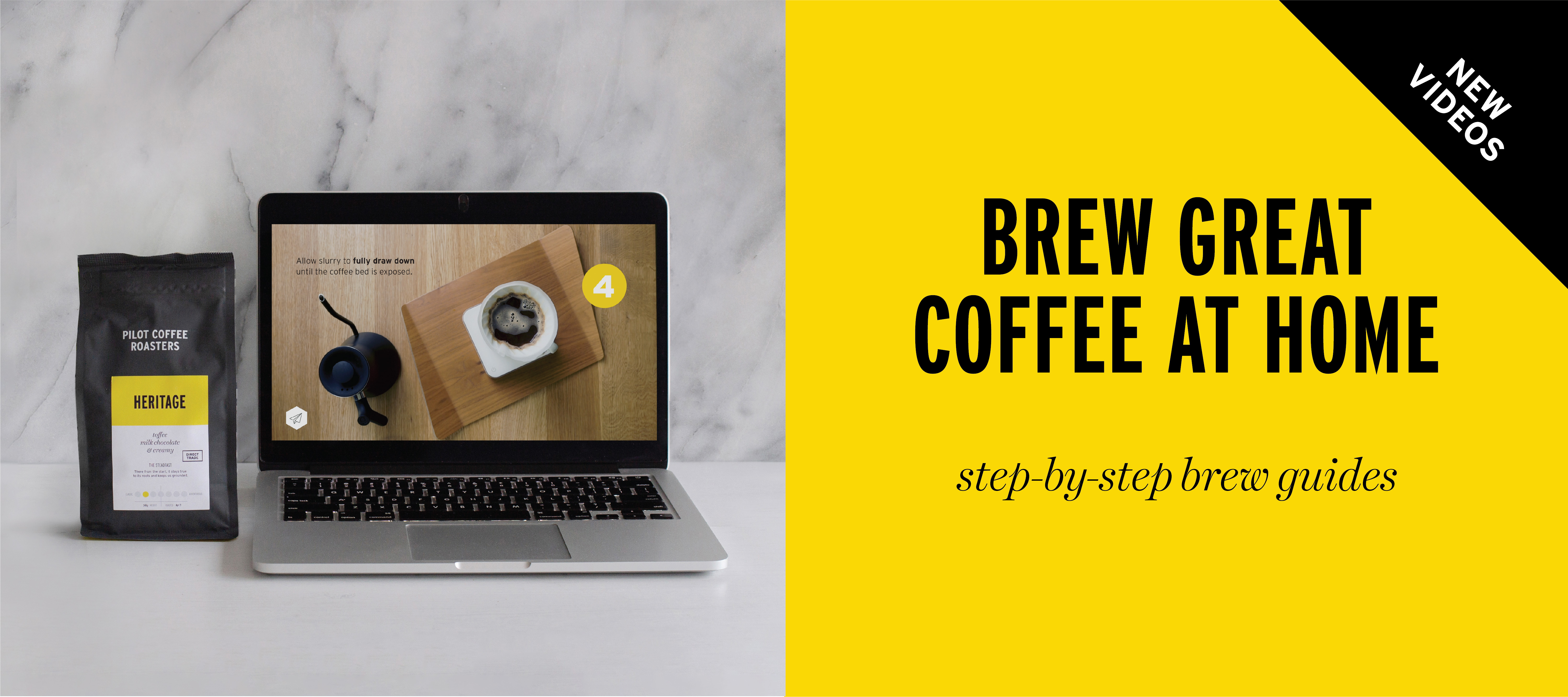 Use Pilot coffee beans and brewing gear to make coffee while working from home, follow our step by step brew guides