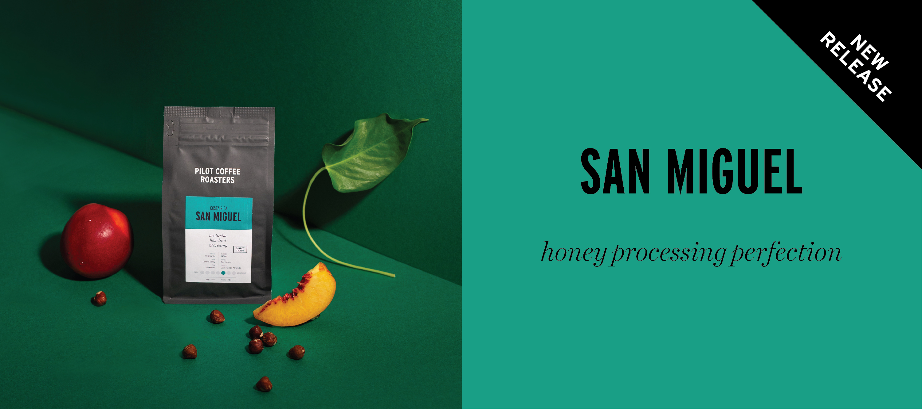Our latest coffee release from Costa Rica, San Miguel has tasting notes of Hazelnut and nectarine