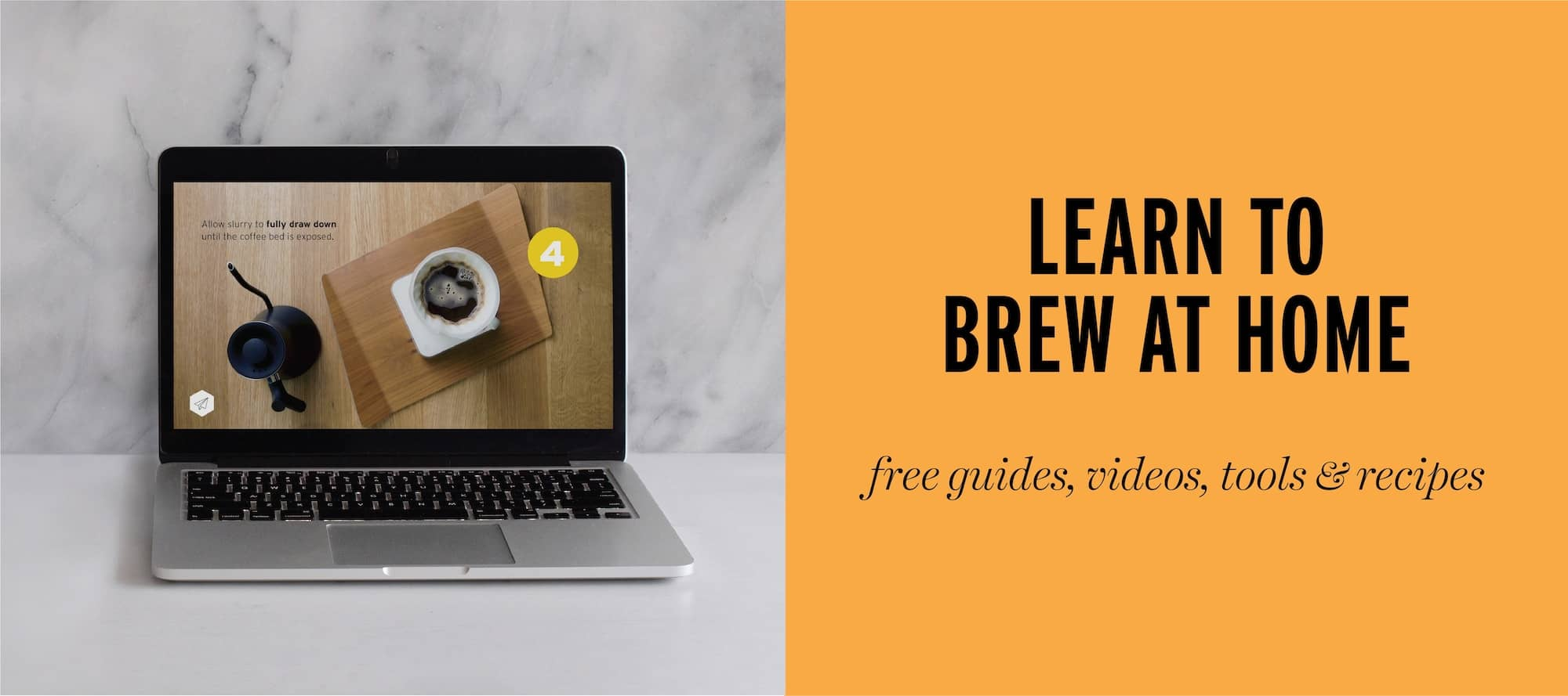 Learn to brew coffee at home, computer with coffee how-to video