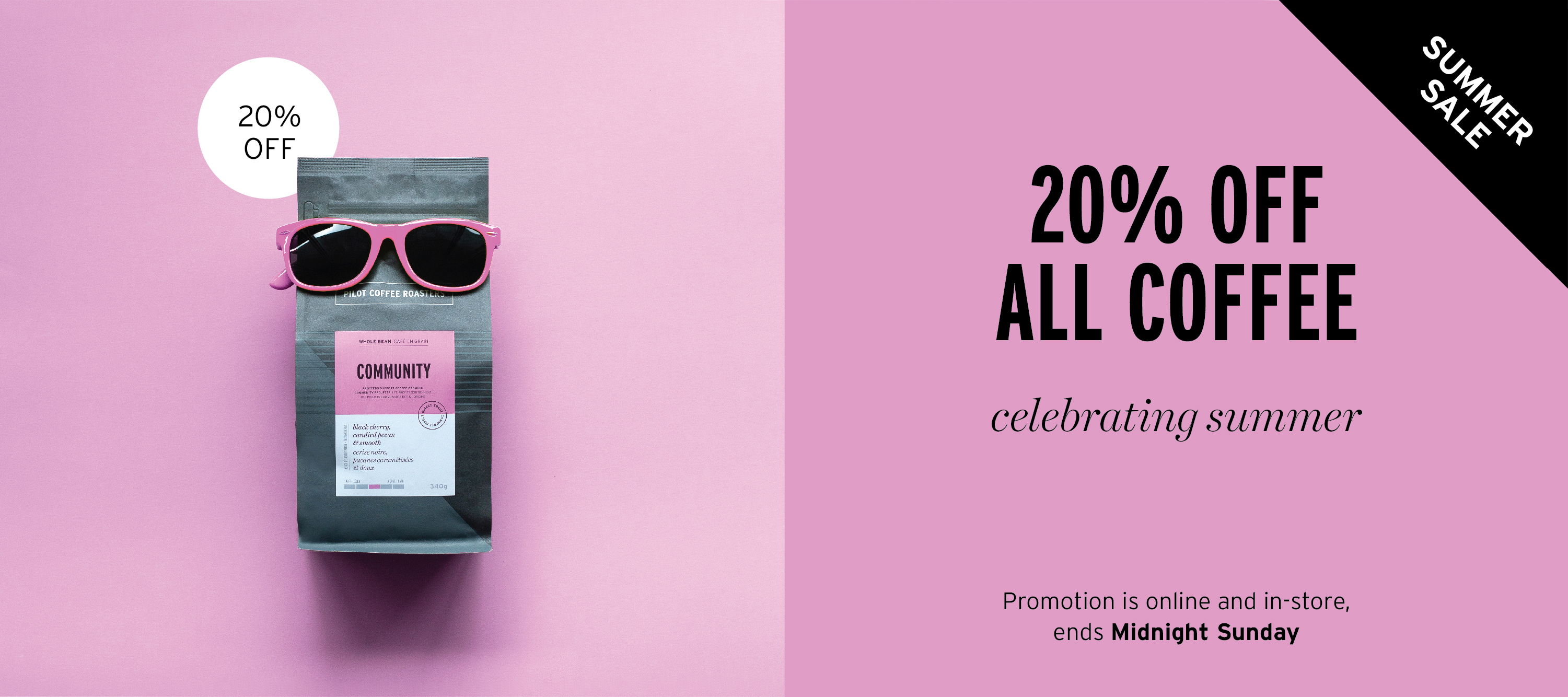 20% off coffee until Midnight Sunday - Free shipping for all orders over $30 across Canada