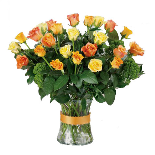 Yellow & Orange Mixed Fall Two Dozen Rose Flower Arrangement Bouquet