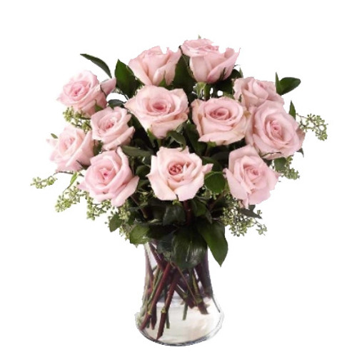 Enchanting Dozen Pink Rose Flower Arrangement Bouquet