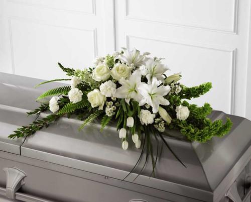 The Resurrection Casket Spray Flower Arrangement With White Roses