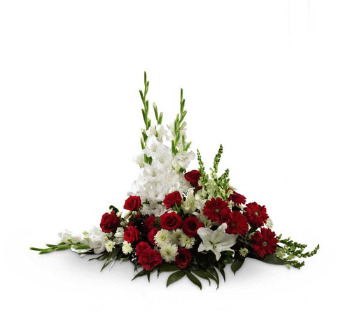 Crimson & White Rose and Flower Arrangement