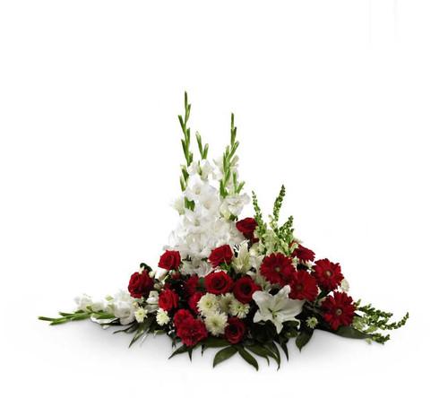 Crimson & White Rose and Flower Arrangement