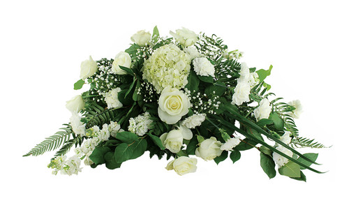 Classic White Casket Spray Flower Arrangement With Roses