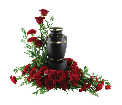 Red Rose and Carnations Urn Floral Arrangement