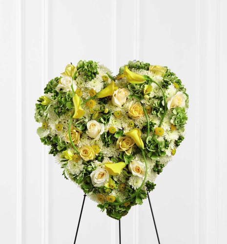 Glowing Ray Standing Heart Funeral Flower Arrangement With Yellow Roses