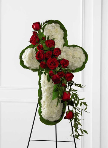 The Floral Cross Easel Funeral Flower Arrangement