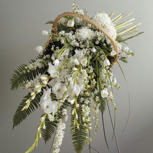 Fireside Basket Standing Spray Arrangement With White Flowers