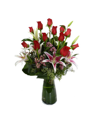 Cupid's Choice- Roses & Lilies