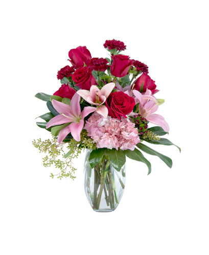 Blushing Bouquet-Red & Pink