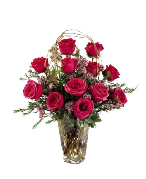 Alluring Dozen Rose Arrangement
