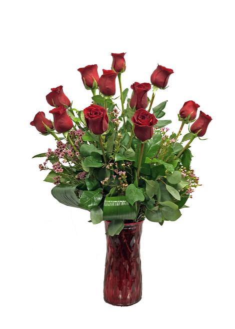 Signature Dozen Roses with Colored Vase