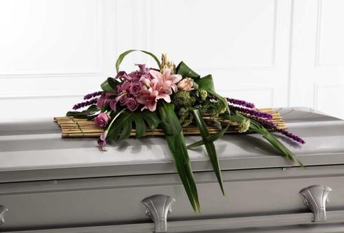 Affection Casket Spray Flower Arrangement With Purple Roses