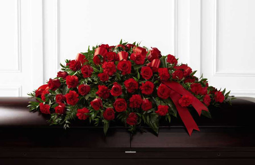 Dearly Departed Red Rose Casket Spray Flower Arrangement