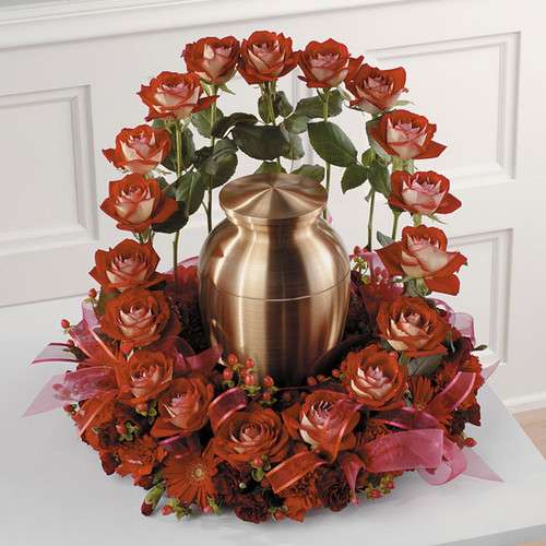 Red Rose Memorial Garden Flower Arrangement
