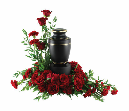 Red Rose and Carnations Urn Floral Arrangement