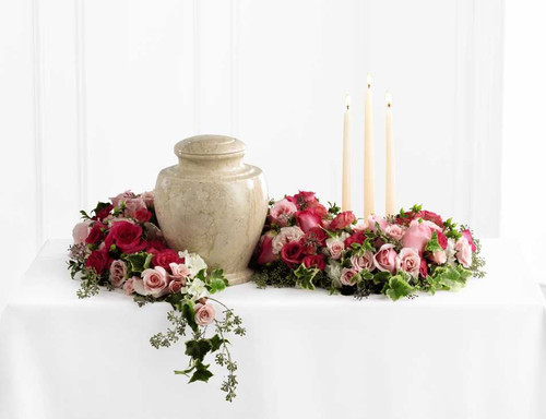 Pink Garden Remembrance Flower Arrangement With Pink Roses
