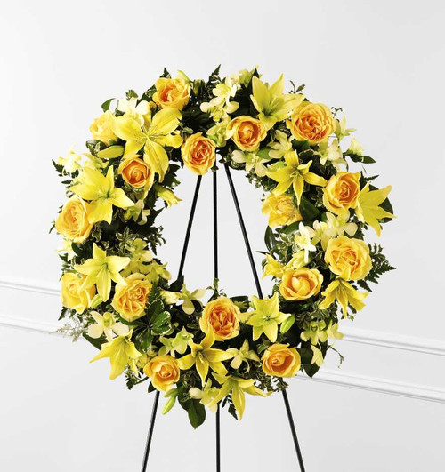 The Ring of Friendship Funeral Wreath With Yellow Roses
