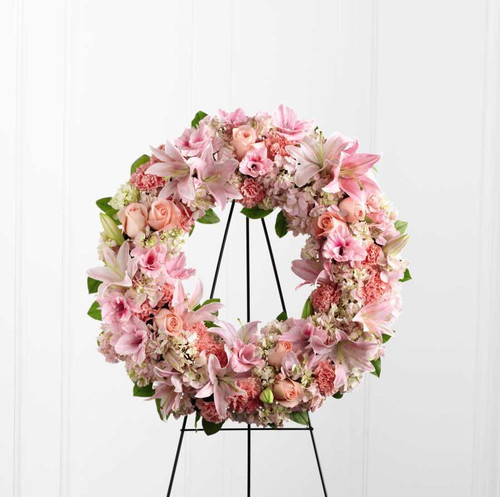 The Loving Remembrance Funeral Wreath With Pink Roses