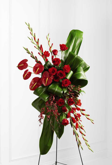 The Sweet Thought Standing Spray Flower Arrangement With Red Roses