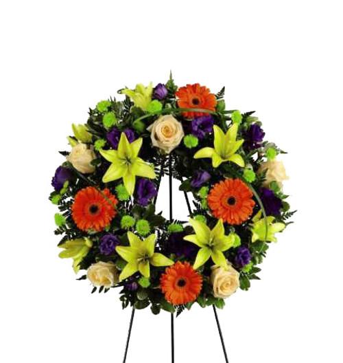 The Radiant Remembrance Funeral Wreath Flower Arrangement