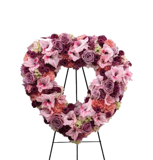 The Eternal Rest Standing Heart Flower Arrangement With Pink and Purple Roses