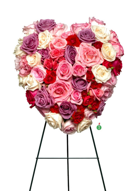 You're In My Heart Wreath With Pink, Red, White, and Purple Roses
