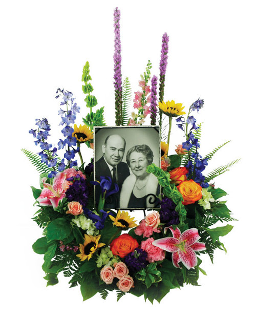 Loving Garden Photo Frame Wreath Flower Arrangement