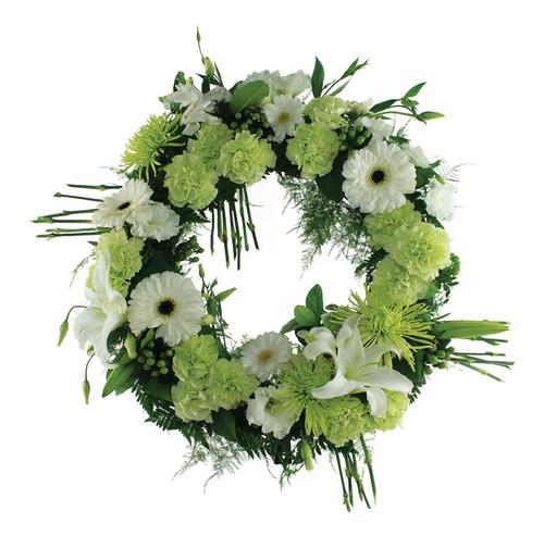 Green Garden Memorial Wreath Sympathy Flower Arrangement