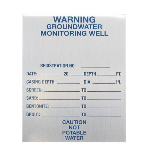 "Monitoring Well Tag 3"" x 3.75"" Aluminum"