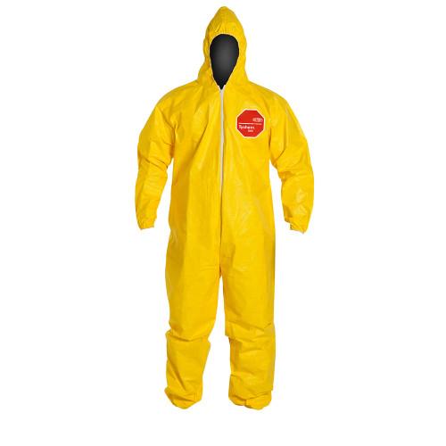 Yellow Tychem® 2000  Polyethylene Coated Tyvek® w/ Hood and Elastic, Qty 12