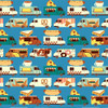 Blue Food Trucks cotton fabrics design