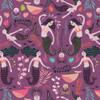 Purple mermaid Orchid cotton Fabrics design