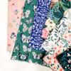 Navy green woodland floral Perennial cotton fabrics design