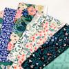 Navy green woodland floral fabrics design