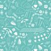 Beach Fabric Blue, Art Gallery Fabrics Busy Beach Teal cotton fabric, QTR YD