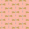 Coral dragonfly fabric, Art Gallery Nox Iridescence Aglow cotton, QTR YD
