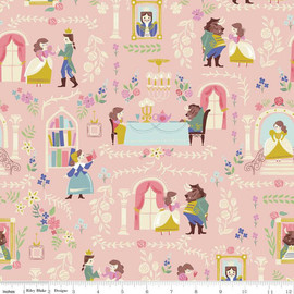 Beauty and the Beast Pink cotton fabrics design