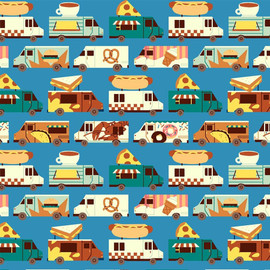 Blue Food Trucks cotton fabrics design