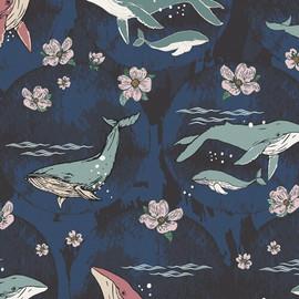 Navy whale floral fabrics design