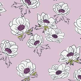 Lavender purple floral cotton fabrics design