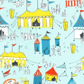 Carnival fun aqua cotton fabrics design