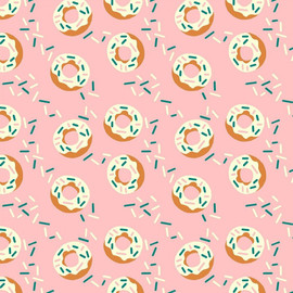 Pink donuts sprinkles fabrics design