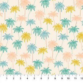 Palm tree tropical fabric, Oasis Figo Fabrics tropical cotton fabric , QTR YD
