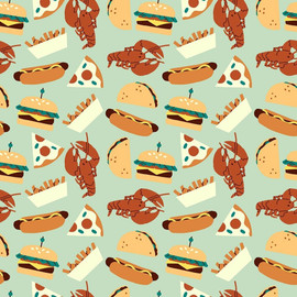 Blue Food Truck food Fabrics design