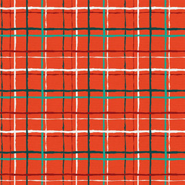 Red Green Christmas plaid cotton Fabrics design